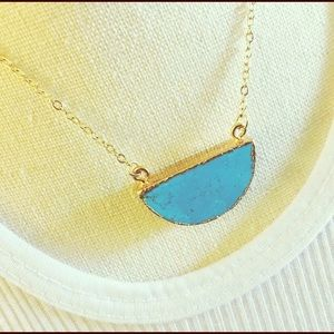 Blue Turquoise Half Moon Fashion Pendant Necklace